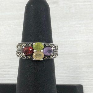 Vintage Sterling Silver Multi Gemstone Ring Size 6